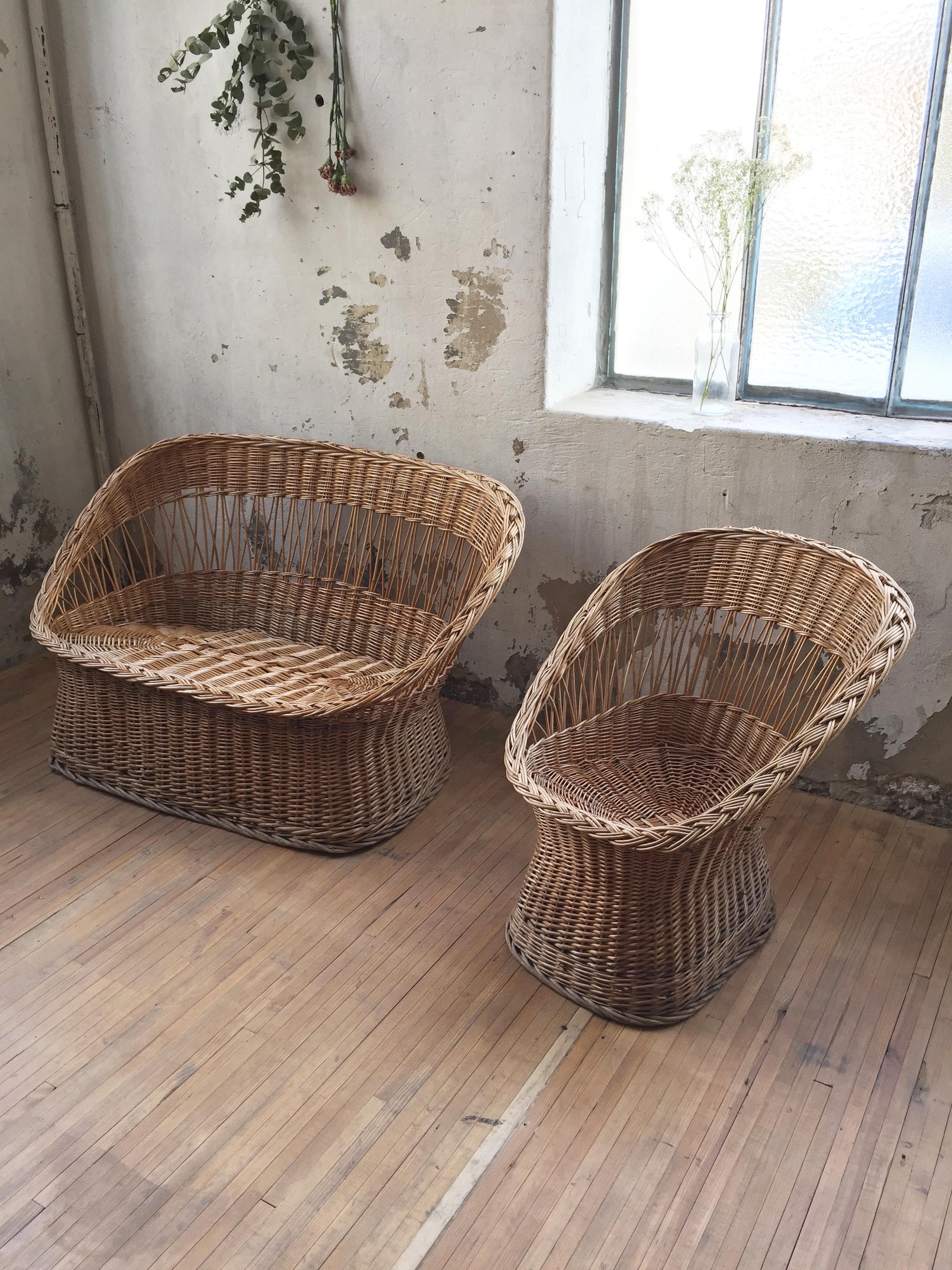 banquette et fauteuil en osier mein lieber. Black Bedroom Furniture Sets. Home Design Ideas