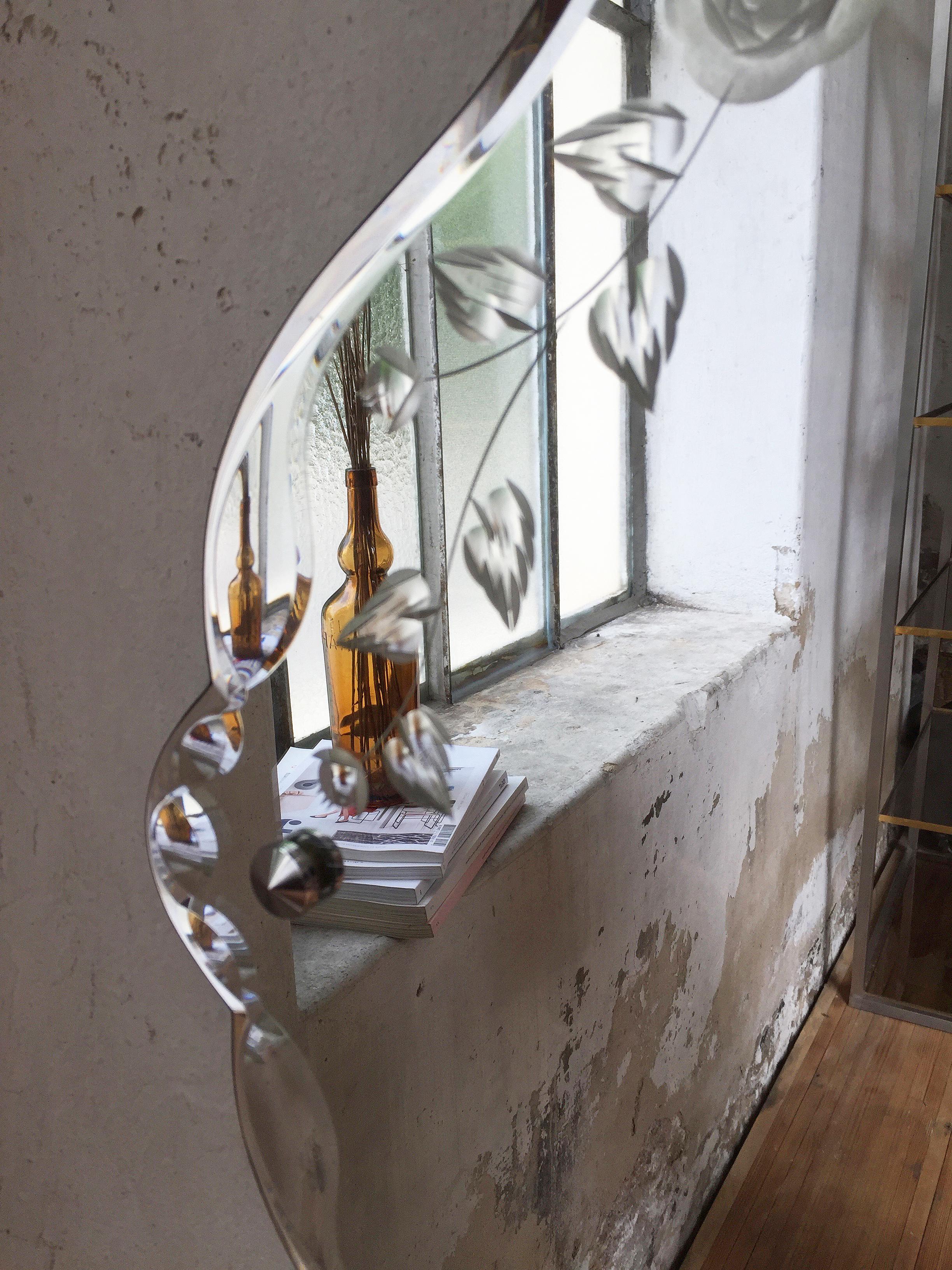 miroir biseaut fleuri ann e 50 mein lieber. Black Bedroom Furniture Sets. Home Design Ideas